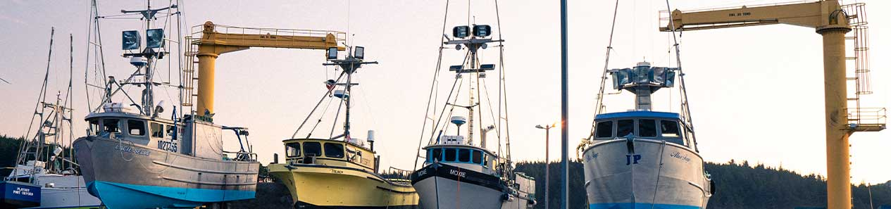 Boats at the Port Orford Crane Dock